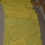 Ironing the silk. Sunshine!