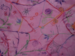 Web of Life, silk hand painted altar cloth, Francesca De Grandis
