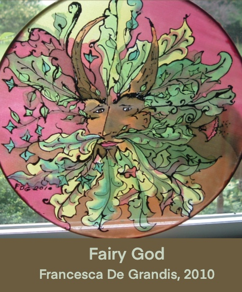 Fairy God, Francesca De Grandis, 2010. Painting of a foliate face with deer horns.